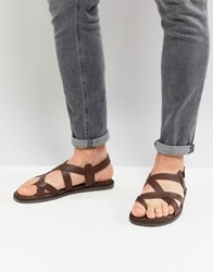 Zign Leather Sandals In Brown With Strap Detail