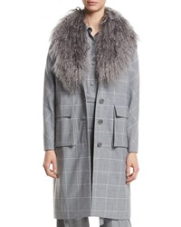 Lela Rose Button Front Check Wool Coat With Mongolian Fur Collar Gray Pattern