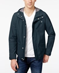 Kenneth Cole New York Men's Hooded Rain Jacket Teal