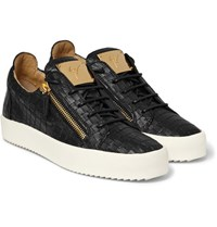 Giuseppe Zanotti Croc Effect Leather Sneakers Black