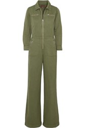 Alexachung Cropped Cotton And Linen Blend Drill Jumpsuit Army Green