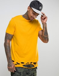 Asos Longline T Shirt With Distressed Hem In Yellow Saffron