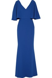 Badgley Mischka Ruffled Textured Crepe Gown Bright Blue