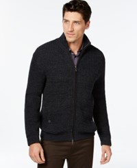 Vince Camuto Full Zip Textured Sweater Dark Navy