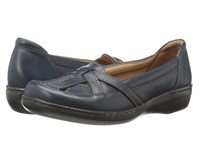 Clarks Evianna Prim Navy Leather Women's Flat Shoes Blue