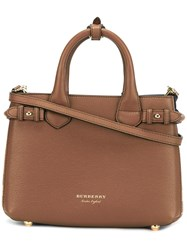 Burberry Logo Plaque Tote Brown