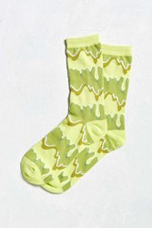 Urban Outfitters Slime Crew Sock Green Multi