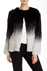 Dawn Levy Genuine Ombre Rabbit Fur Jacket Multi