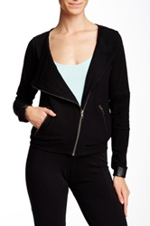 Solow Jersey And Faux Leather Cuff Moto Jacket Black