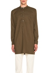 Engineered Garments Banded Brushed Twill Long Collar Button Up In Green