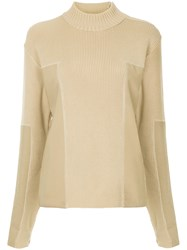 Chanel Vintage Panelled Turtleneck Jumper Nude And Neutrals