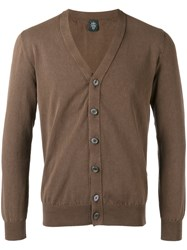 Eleventy V Neck Cardigan Men Cotton M Brown