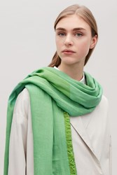 Cos Cotton Scarf With Frayed Edges Green