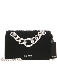 Miu Miu Matelasse Velvet Shoulder Bag Black