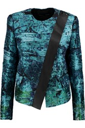Proenza Schouler Leather Trimmed Boucle Jacquard Jacket Green