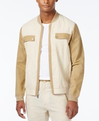 Sean John Men's Lightweight Colorblocked Bomber Jacket Kelp