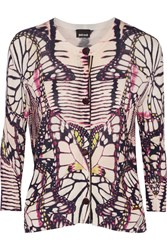 Just Cavalli Printed Stretch Knit Cardigan Purple