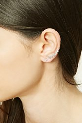 Forever 21 Rhinestone Stud And Ear Pin Set Silver Clear