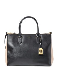 Lauren Ralph Lauren Newbury Double Zip Satchel Black Camel