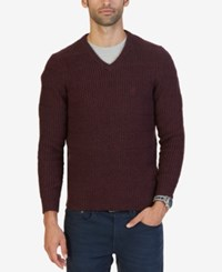Nautica Men's Textured Knit V Neck Sweater Shipwreck Burgundy