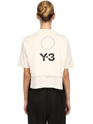 Y 3 Stacked Logo Cropped Jersey T Shirt White