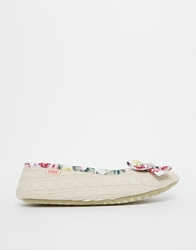 Totes Floral Ballet Slippers Oatmeal