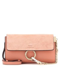 Chloe Faye Mini Leather And Suede Wallet Bag Pink