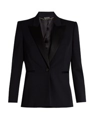 Alexander Mcqueen Contrast Lapel Single Breasted Wool Jacket Navy