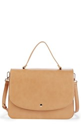 Sole Society Elie Medium Faux Leather Satchel Brown Camel