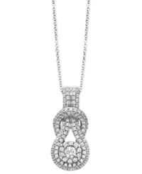 Macy's Diamond Pave Knot Pendant Necklace In 14K White Gold 3 4 Ct. T.W.