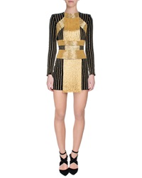Balmain Beaded Fringe Front Mini Dress