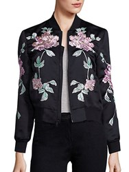 3X1 Wj Satin Collection Floral Embroidered Jacket Black