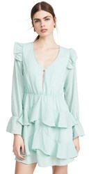 Kendall Kylie Gauze V Neck Ruffle Dress Mint