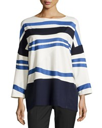 Lafayette 148 New York Oversized Striped Long Sleeve Tee Ink Multi