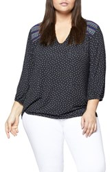 Sanctuary Plus Size Women's Anabelle Embroidered Knit Top Black Polka Dot