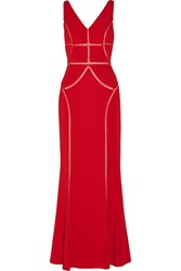 Mikael Aghal Tulle Trimmed Jersey Gown Red