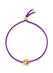 Ruifier 'Sassy' 18K Yellow Gold Charm Cord Bracelet Metallic Purple