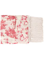 Forte Forte Floral Print Fringed Scarf Silk Cotton Nude Neutrals