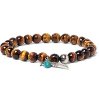 Peyote Bird Sterling Silver Tiger's Eye And Turquoise Bracelet Brown