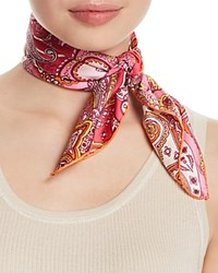 Fraas Paisley Silk Square Scarf Pink