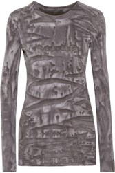 Enza Costa Printed Cotton And Cashmere Blend Top Gray