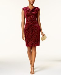 Jessica Howard Cowl Neck Flocked Velvet Dress Wine