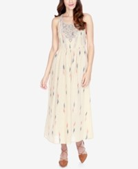 Lucky Brand Embroidered Maxi Cotton Dress Natural Multi