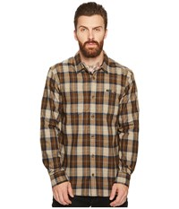 Rvca Bone Flannel Long Sleeve Shirt Dark Khaki Men's Long Sleeve Button Up