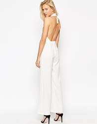 Asos Backless Jumpsuit With High Neck And Tassle Back Ivory