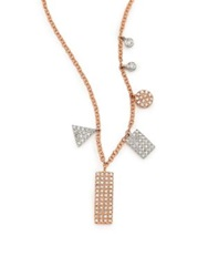 Meira T Diamond And 14K Rose Gold Geometric Charm Necklace