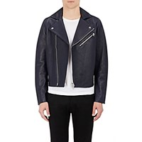 Acne Studios Men's Leather Moto Jacket Navy