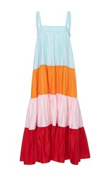 Mds Stripes Wyatt Colorblock Tiered Maxi Dress Multi