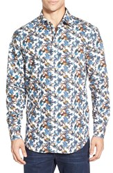 Men's Bugatchi Shaped Fit Long Sleeve Horse And Flower Pattern Sport Shirt