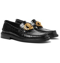 Versace Embellished Croc Effect Leather Loafers Black